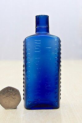 VINTAGE POISONOUS NOT TO BE TAKEN Rd No 590540 COBALT BLUE 2oz POISON BOTTLE