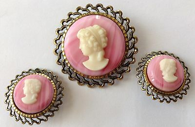 Vintage West Germany Signed Pink Cameo Brooch And Earrings