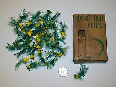"""Lot of 36 Vintage Frog Popper W/ Box """"Hand Tied Flies"""" Fly Fishing Lure"""