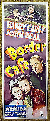 "1937 western poster / HARRY CAREY - John BEAL -- ""BORDER CAFE"" a new kind of law"