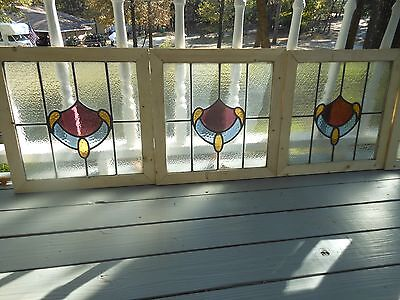 MA8-328 Lovely Older Leaded Stain Glass Window From England Reframed 4 Available