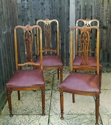 Antique 4 Walnut Dining Chairs Art Nouveau Inlay Vintage Sprung Seats