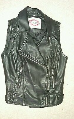 Girls faux leather gilet by New Look. Age 10-11 years. Hardly worn!