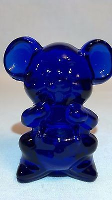 Vintage Boyd Glass Cobalt Blue Willie The Mouse Figurine Wild Animal Made 1990