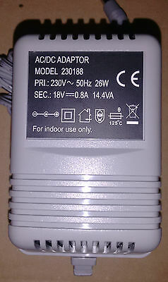 18v 0.8A 26W Adapter Power Pack AC/DC Electrical Supply Plug 3-Pin UK