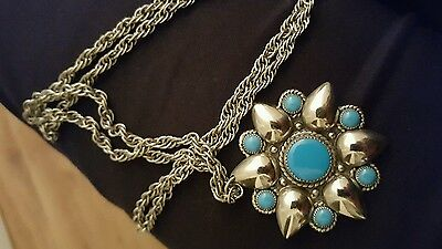 Tribal turquoise nickel silver necklace