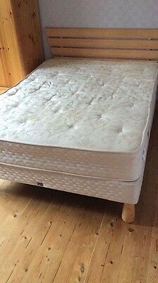 Pine wooden double bed with frame and mattress