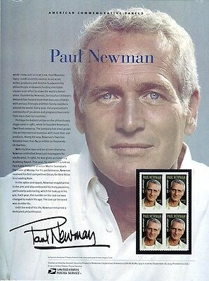 Paul Newman USPS Commemorative Panel w Block of 4 Stamps New