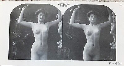 Nude Risque Stereoview ~ Woman lifting Weights! 19th Century Reproduced here