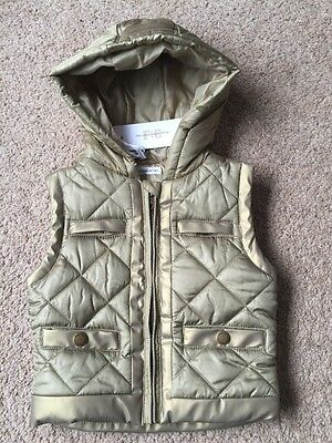 BNWT French Connection FC Gold Girls Hooded Body Warmer Gilet 2- 3-4 Years