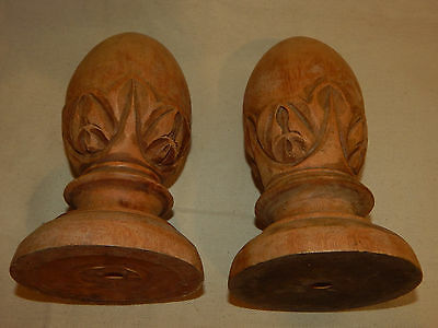 Antique Carved Wood Finials, Pair of 2