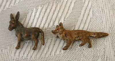 2x Lovely vintage Victorian tiny miniature cold painted bronze fox and donkey