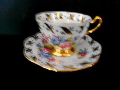 Rosina Bone China Tea Cup & Saucer White With Floral Pattern & Gold Trim England
