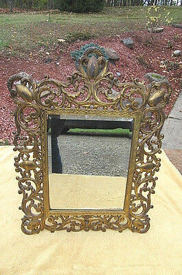 Antique Vintage Ornate Art Nouveau Brass Mirror