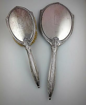 Antique STERLING SILVER Vanity Set Hand Mirror & Brush Chased Neoclassical