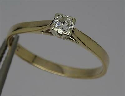 **stunning 9Ct Gold 0.18Ct Round Brilliant Cut Diamond Solitaire Ring**