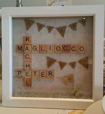 **scrabble Art Picture Frame Personalised/wedding/engagement/family/birthdays
