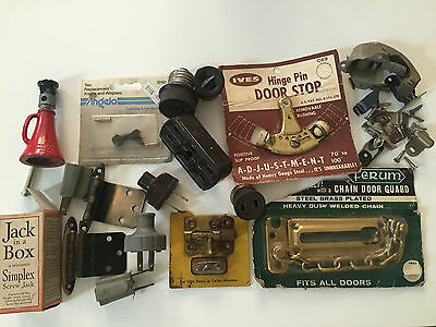 Vintage Hardware: Security Chain, Door stop, Jack in a box, hinges, Electrical