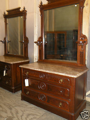 Gorgeous Matching Pair of Antique Marble Top Victorian Bedroom Dressers