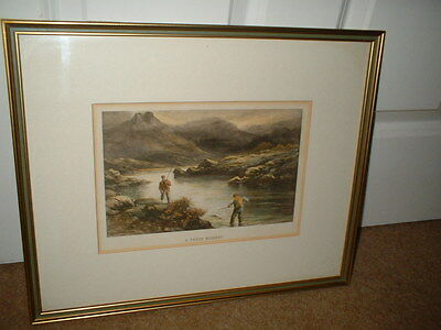 """""""A Tense Momment"""" hand-coloured antique engraving print by Douglas Adams Framed"""