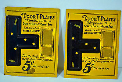 Wood Screen Door Brace Metal T- Brackets Plates 4 pcs Vintage Supports NOS