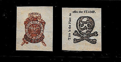 1765 Stamp Act Stamps Reprints On Genuine Original Period 1760 Paper