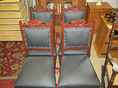 Set Of 4  Victorian Carved Mahogany Dinning Room Chairs