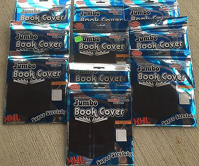 """10 - Jumbo Stretchable XXL Book Covers - 10""""x15"""" - Solid Black - New in Package"""