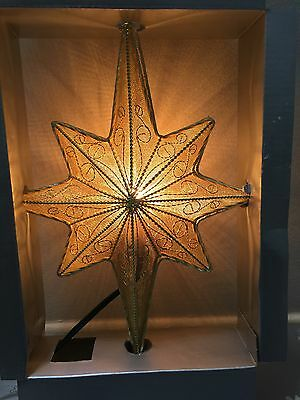 Trim A Home Mesh Gold Star Tree Topper Lights Up 10 inches tall
