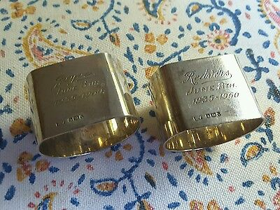pair of English sterling silver napkin rings