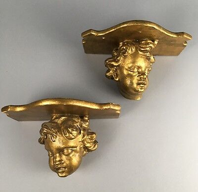 Antique Gilt Wood Pair Italian Wood Cherub Wall Shelf Bracket Sconces