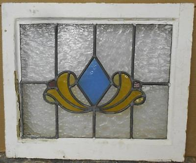 "OLD ENGLISH LEADED STAINED GLASS WINDOW Pretty Geometric 21"" x 17.75"""