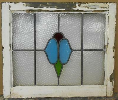 """MID SIZED OLD ENGLISH LEADED STAINED GLASS WINDOW Abstract Floral 22.5"""" x 19"""""""