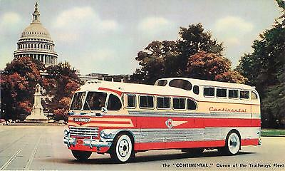 "Continental Trailways Bus ""The CONTINENTAL"" Luxury Coach c1950s Postcard"