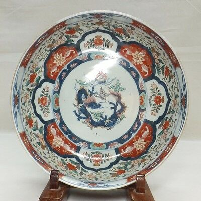 D562: Real Japanese OLD IMARI bowl colored porcelain bowl with dragon painting