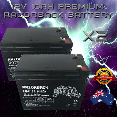 2x 12V 10Ah Razorback Premium Deep Cycle Battery RB10-12 RECHARGEABLE