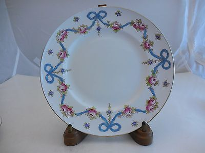 Vintage Crown Staffordshire Rare Blue Bow Dinner Plate