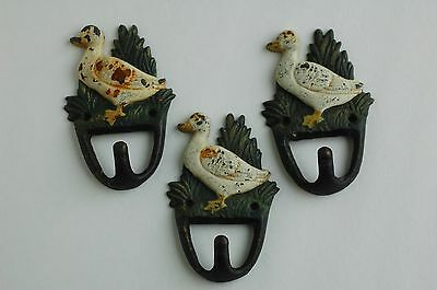 Lot of 3 Antique Rustic Heavy Cast Iron Duck Hooks Bird Goose Hanger Shaby Chic