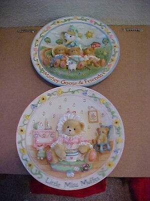 2 Cherished Teddies Plates Nursery Rhymes Little Miss Muppet & Mother Goose