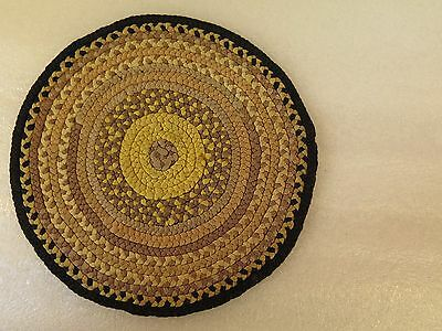 Silk Ribbon Round Braided Brown Rug Dollhouse Miniature 8""