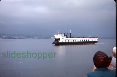 Slide Photo Unidentified Vancouver CA Railroad Auto Ferry Under Way in 1968