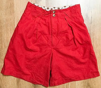 Vintage 80's Red High Waisted Pocket Shorts Cotton Blend Women's Size Small