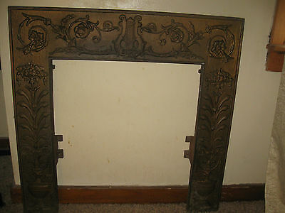 Ornate Fire Place Frame Weathered Gold Tone Face Detailed Super Rare Estate Find