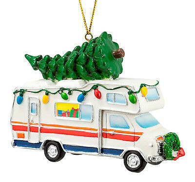 Decorated RV Camper With Tree on Top Christmas Holiday Ornament