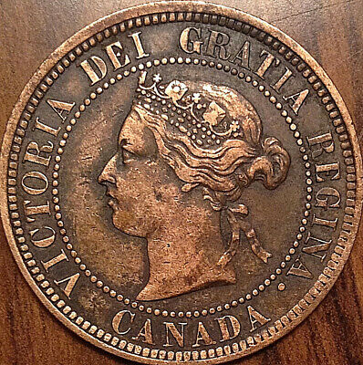 1884 Canada Large Cent Obverse #1 Extremely Rare Penny In Great Condition !!