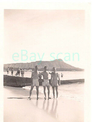 Vintage Photo #630 Affectionate Young Men Gay Interest Swim Suits Bare Chested