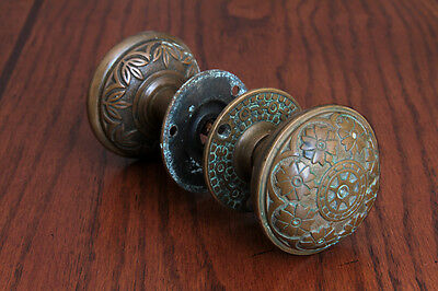 Antique Pair Bronze Door Knobs with Rosettes. Circa-1880s- Hardware