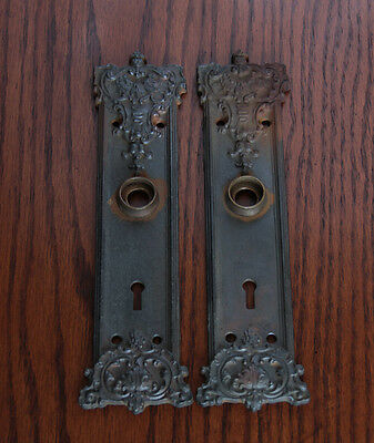 Antique Russell & Erwin Cast Iron Door Plates- Hardware- circa: 1900