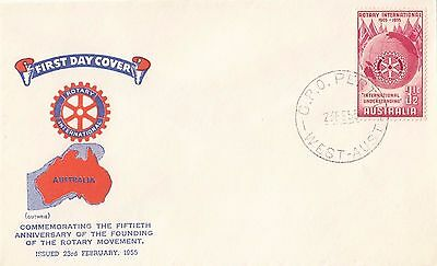 Stamp 1955 Australia 3&1/2d Rotary International issue on Guthrie cachet FDC