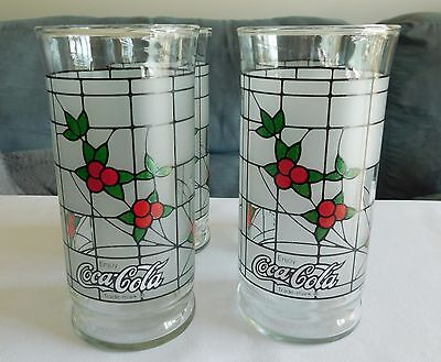 4 Vintage Libbey COCA-COLA Frosted Christmas Holiday Stained Glass Holly Berry
